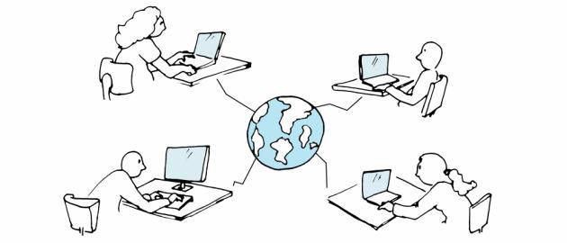Tegning: personer med computere rund i verden